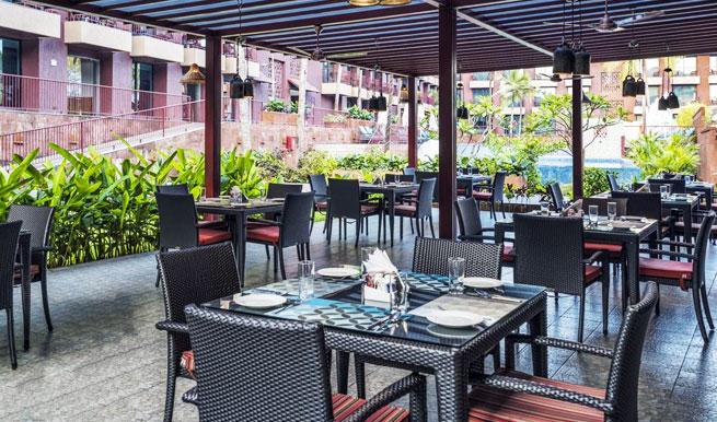 dining in Caspia Hotels, Arpora, North Goa