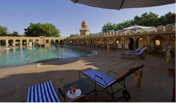Swimming in Fort Rajwada Hotel, Jaisalmer