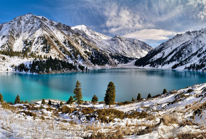 Big Almaty Lake Reservoir in Kazakhstan