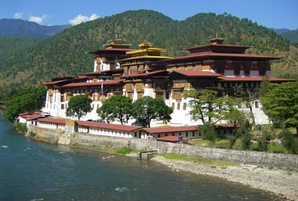 Punakha Dzong Buddhist temple in Bhutan